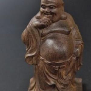 日本请回紫檀木雕刻笑佛造像