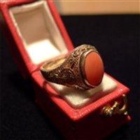 回流天然珊瑚掐丝戒指