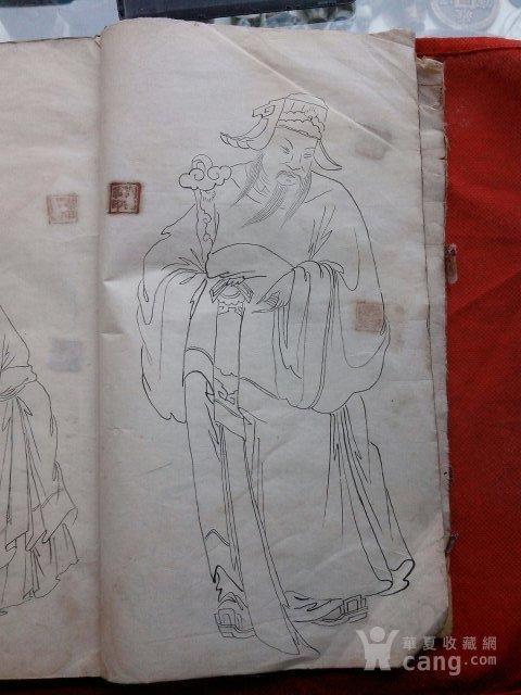 民国白描人物画稿 图2高清图片
