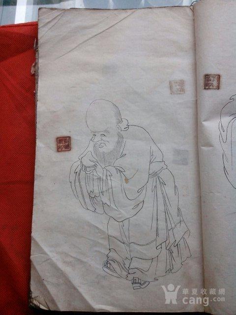 民国白描人物画稿 图3高清图片