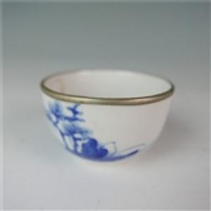 清 青花花卉嵌银碗