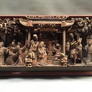老木雕 ― 极品『 郭子仪祝寿 』典故 矿彩贴金大看板。