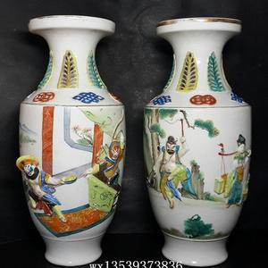 民国潮州窑贴塑盘口瓶