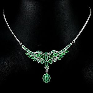 【祖母绿银项链】天然哥伦比亚祖母绿925银镀14K金项链