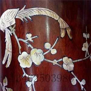 花梨镶贝木笔筒  木器铜器竹器古玩