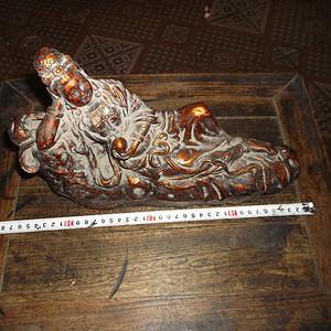 乡下收来老漆金木雕自在观音像请老师看看!