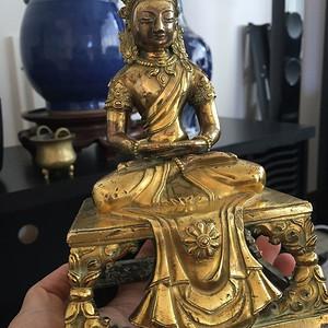 清乾隆 铜鎏金 无量寿佛 (重新照,应邀重新鉴定)