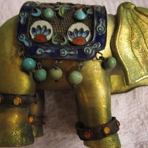 掐丝珐琅紫铜镀金小象