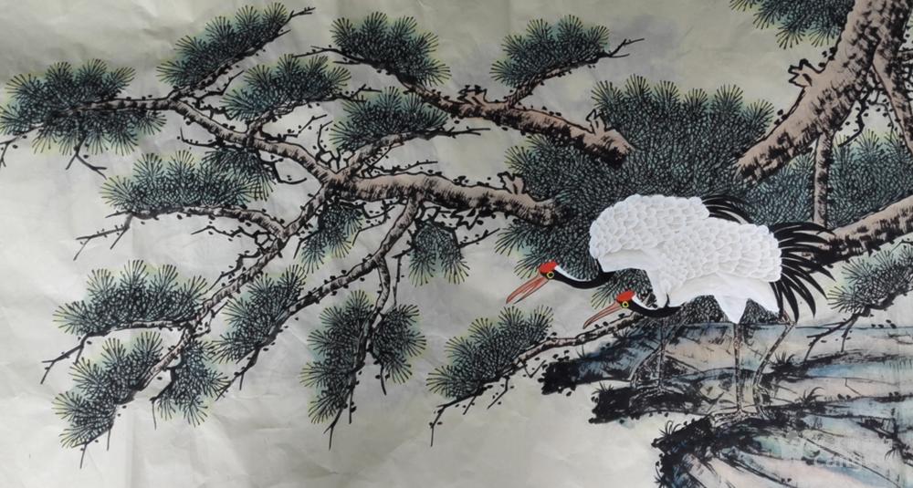 当代国画名家华卧石仙鹤图赏析.