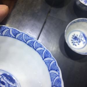清中期 青花杯子 一套四只