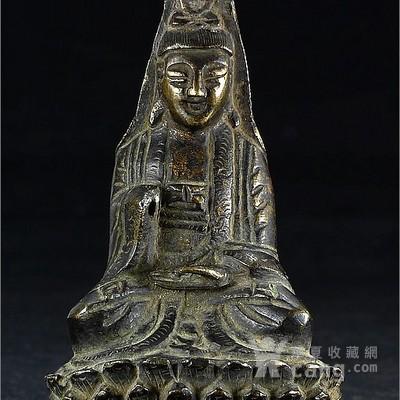 清代老铜雕汉传佛教佛造像观世音菩萨坐像