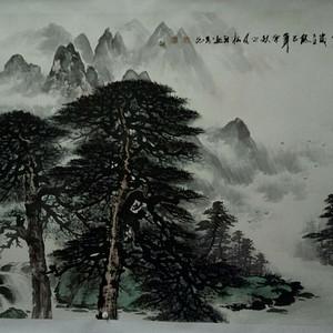天来堂◆实力派画家万老先生★大六尺全开松山观瀑