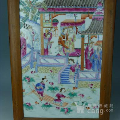 清晚期粉彩吴王采莲瓷板