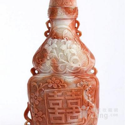 一刻cerasuol珊瑚鼻烟壶,中国,第二十世纪