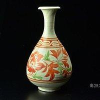 磁州窑红绿彩玉壶春瓶
