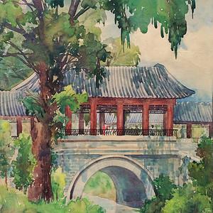 宋步云水彩画27乘38cm 1956年