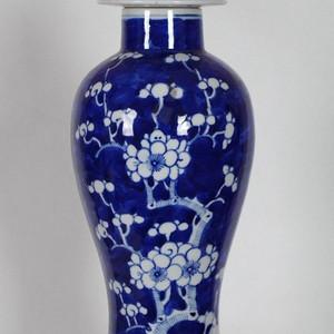 青花冰梅大盖瓶29.5厘米
