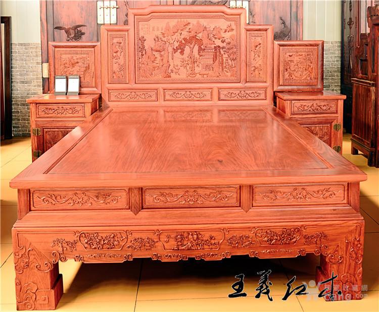 烟台缅甸花梨大床 独特的设计粗犷大气,靠背贴