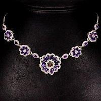 紫水晶欧泊银项链 天然紫水晶欧泊石925银镀14K金项链