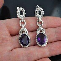 紫水晶托帕石耳饰 天然紫水晶托帕石925银镀14K金耳饰