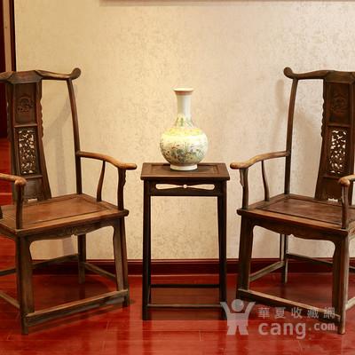 清代 明式 榉木 四出头式 官帽椅 一对 精品