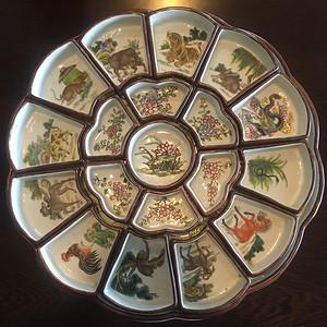 清代陶瓷12生肖果盘