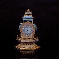 海外回流 清 银鎏金花丝烤蓝 塔式佛龛
