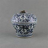 青花寿字铜环盖罐