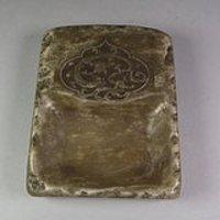 青黄色寿山石螭龙纹长方形诗文大笔舔砚台