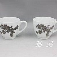 醴陵醴力70年代末—80年代初老瓷,大球泥松树茶杯2个