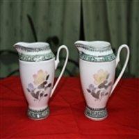 醴陵群力产送克林顿国家礼品瓷手绘红山茶花奶杯1对