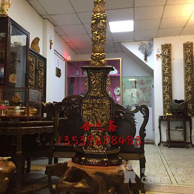 民国潮州工金漆木雕  富贵平安 烛台  高一米八十多厘米