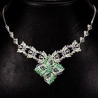 祖母绿坦桑石银项链 天然祖母绿坦桑石925银镀14K金项链