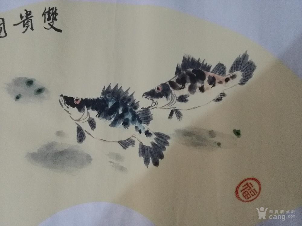 手绘扇面花鸟画双贵图