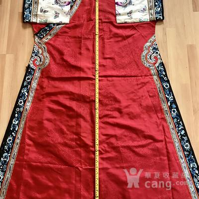 清中期 大红 盘长 云纹 旗装