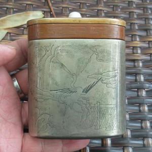 山水松鹤纹老铜烟盒 自藏品