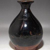 送代黑釉玉壶春瓶二个