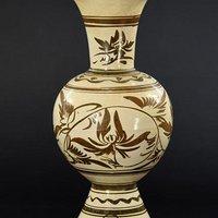 元代磁州窑百合花瓶