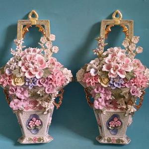 瓷塑精品,一对壁挂大花篮
