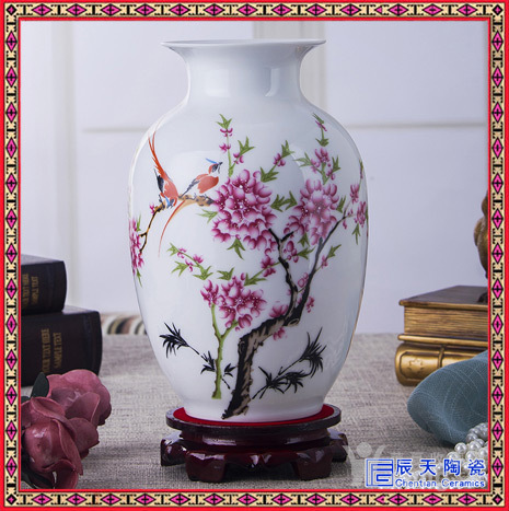 景德镇陶瓷器 大师手绘粉彩瓷瓶 现代时尚装饰摆件客厅摆设