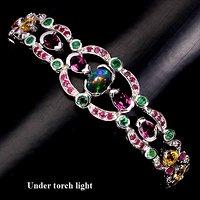五合宝石银手链 五种不同天然宝石共镶925银镀14K金手链