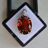 黄水晶钻石吊坠 15.8克拉纯天然黄水晶18K金钻石吊坠