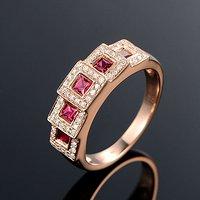 红宝石女戒 天然缅甸抹谷红宝石镶南非钻石18K金女款戒指