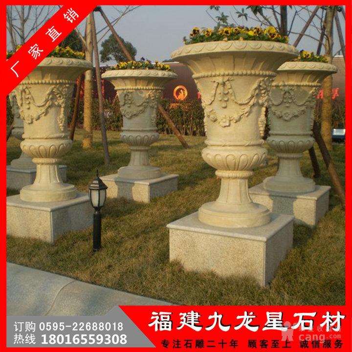 欧式别墅装饰 黄锈石花盆花钵 园林石雕花钵摆件