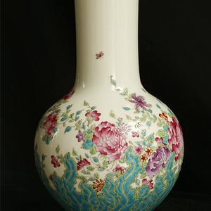 瓷器瓶,牡丹菊花,紋,清乾隆,官窑