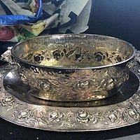 19世纪意大利贵族用纯银大果盆