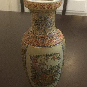 广彩织金花瓶 外销