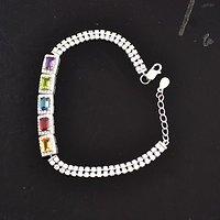 五色宝石银手链 五种不同天然宝石共镶925银镀14K金手链