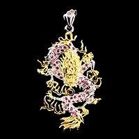 红宝石龙型吊坠 纯天然红宝石925银镀14K金龙型吊坠