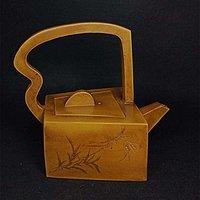 紫砂竹叶诗文方形手提壶